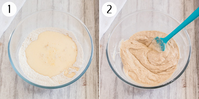 A collage showing how to mix the batter for cake donuts