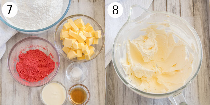 A collage showing ingredients for strawberry buttercream & mixing butter and sugar
