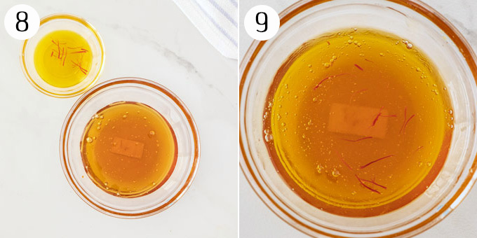 2 photos showing Saffron Honey sauce
