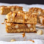 Easy to make blondies are just what you need right now. These Macadamia Caramel Blondies combine a simple caramel sauce and macadamias so they're bursting with flavour