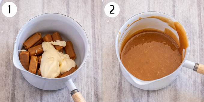 Collage of 2 photos showing Caramels and cream in a saucepan, melted to make caramel sauce