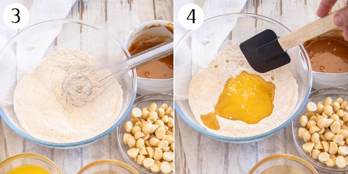 Collage of 2 photos showing how to mix blondie batter in a glass bowl - dry ingredients whisked together, then melted butter is added.