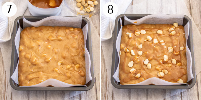 Blondie batter in a square baking tin, then topping it with caramel and macadamias