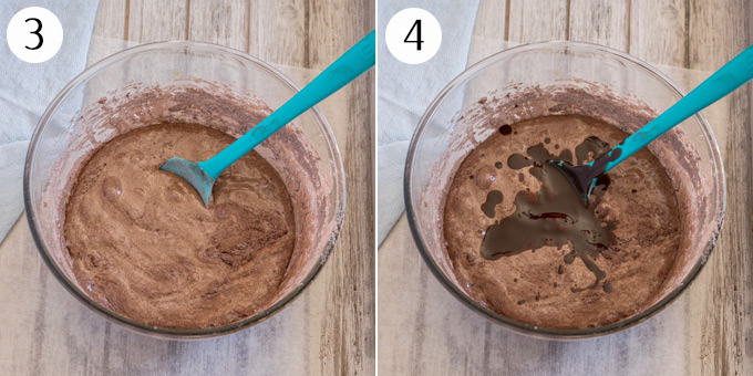 2 photos: Stirring in dry ingredients then adding chocolate and melted butter.