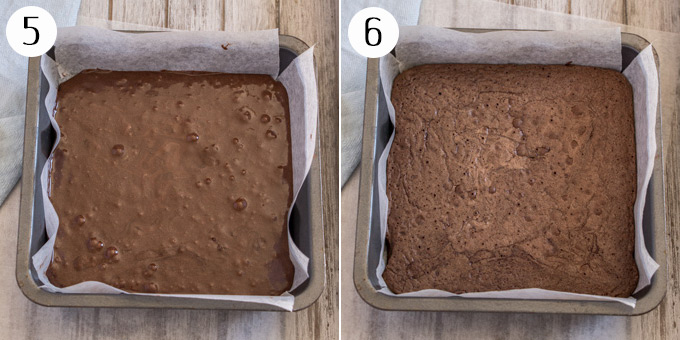 2 photos: The brownie base before and after baking.