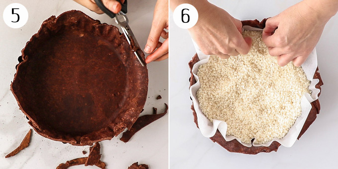 A chocolate pie crust filled with baking paper and rice ready for it's second bake