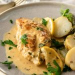 Creamy Lemon Thyme Chicken is all made in one pan or skillet. Easy to prepare, ready in under 30 minutes and a tangy, creamy sauce, this simple chicken dish is an insanely delicious dinner for any night of the week.