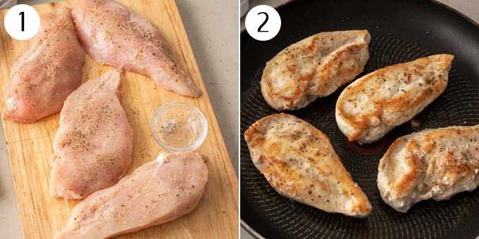 2 photos: Raw chicken breasts on a chopping board seasoned. Then cooked in a pan.