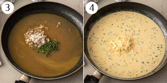 2 photos: A pan with chicken stock, onions and thyme, then with cream added.