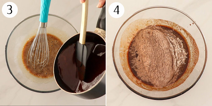 Adding melted chocolate to wet ingredients, then adding flour.
