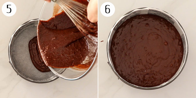 Pouring cake batter into a cake tin before baking.