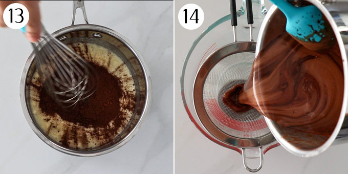The ingredients for mirror glaze in a saucepan, then pouring the glaze through a sieve.