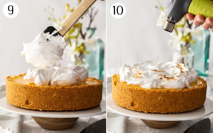 Topping a cheesecake with meringue and torching it with a blow torch
