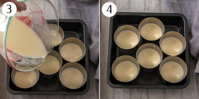 Pouring panna cotta mixture into dariole moulds