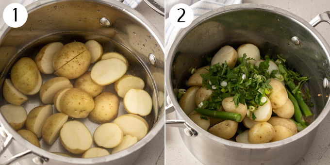 Baby potatoes and asparagus in a saucepan