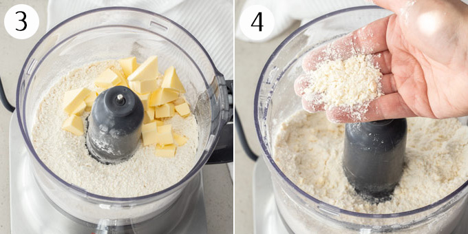 A food processor filled with flour and butter