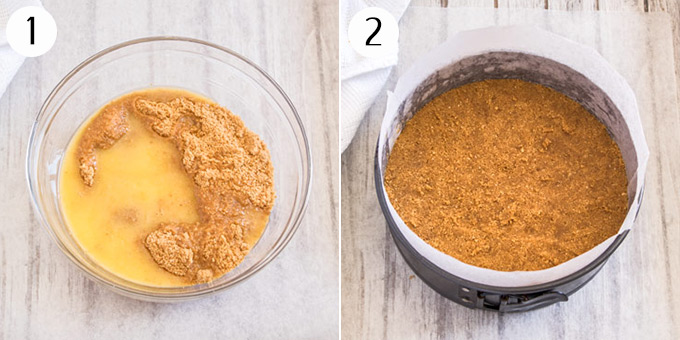 Mixing together melted butter and cookie crumbs and pressing them into the base of a cake tin