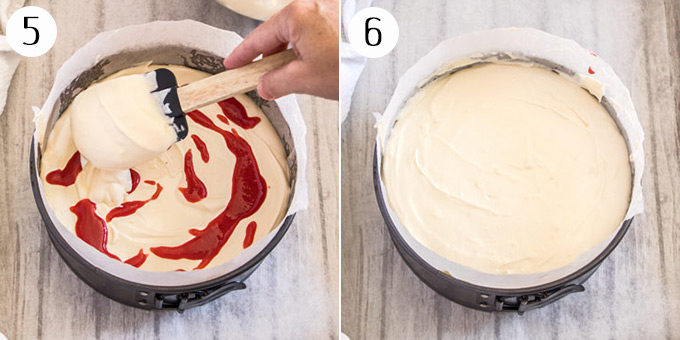 Adding a second layer of cheesecake filling to a cheesecake base