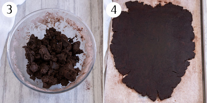 A bowl of thick chocolate cookie dough, then the dough rolled out