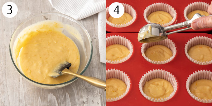 Portioning cupcake batter between cupcake cases in a muffin tin.