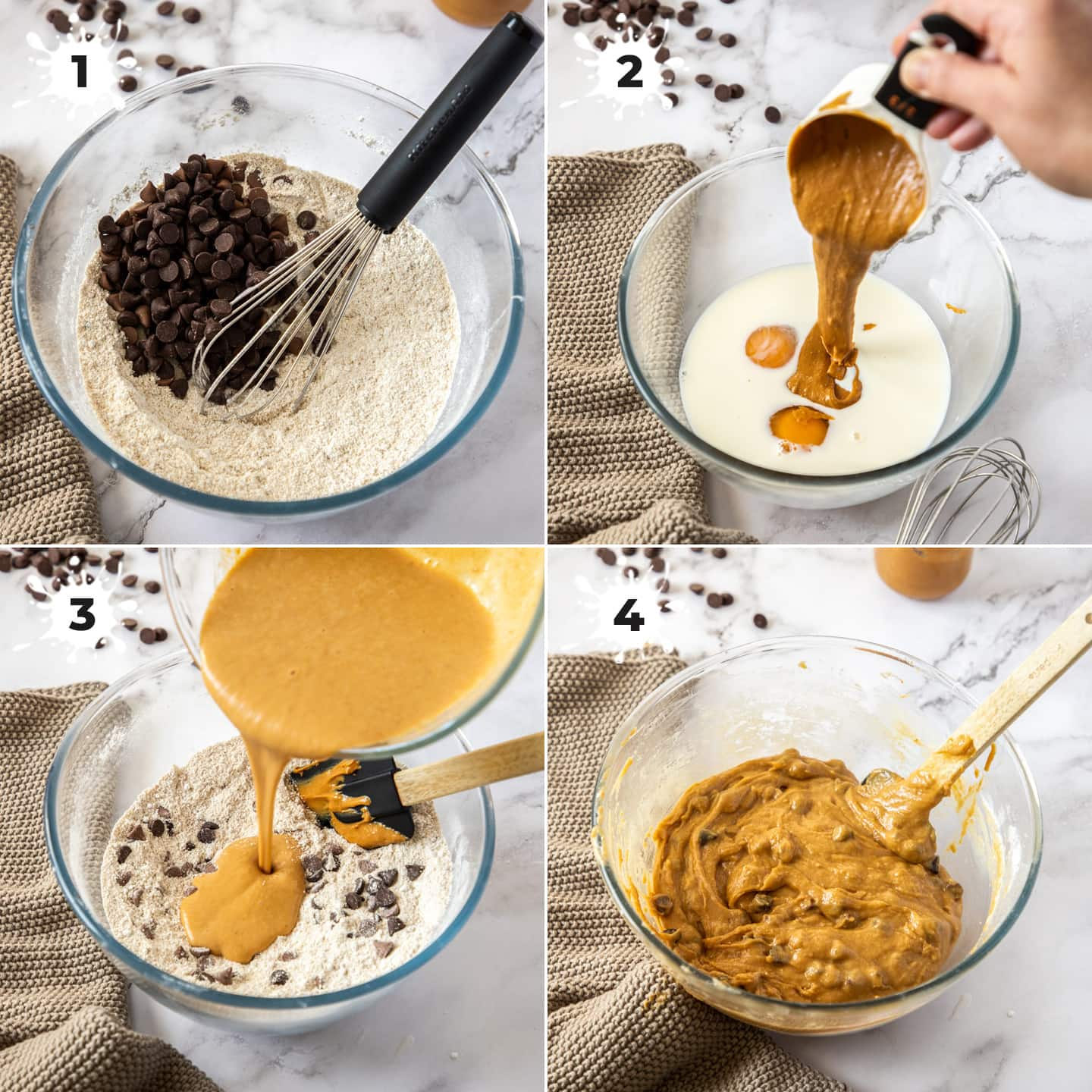 Collage of 4 images showing the making of batter in a glass bowl