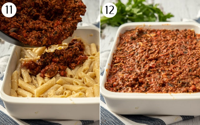 Pouring meat sauce over pasta in a white casserole dish