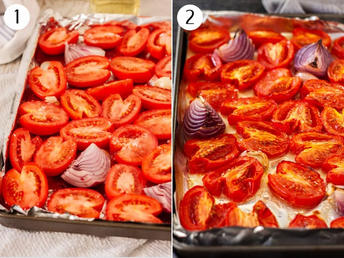 Collage of 2 photos showing how to roast fresh tomatoes on a baking pan