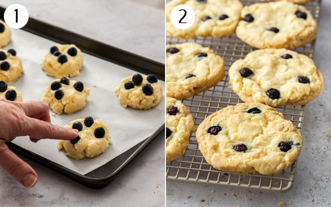 A collage showing fresh blueberries being added to balls of cookign dough and the how they look after baking