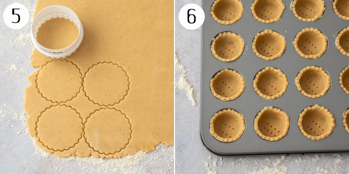 Cookie dough having circles cut out of it, then the circles of dough pressed into a mini muffin tin