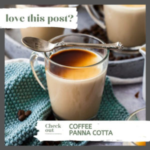 Closeup of a glass filled with coffee panna cotta, Sits on a blue napkin with more surrounding it