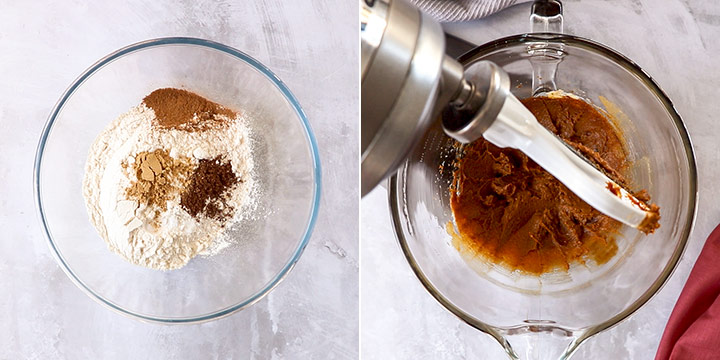 Two images showing mixing the ingredients for gingerbread cookies