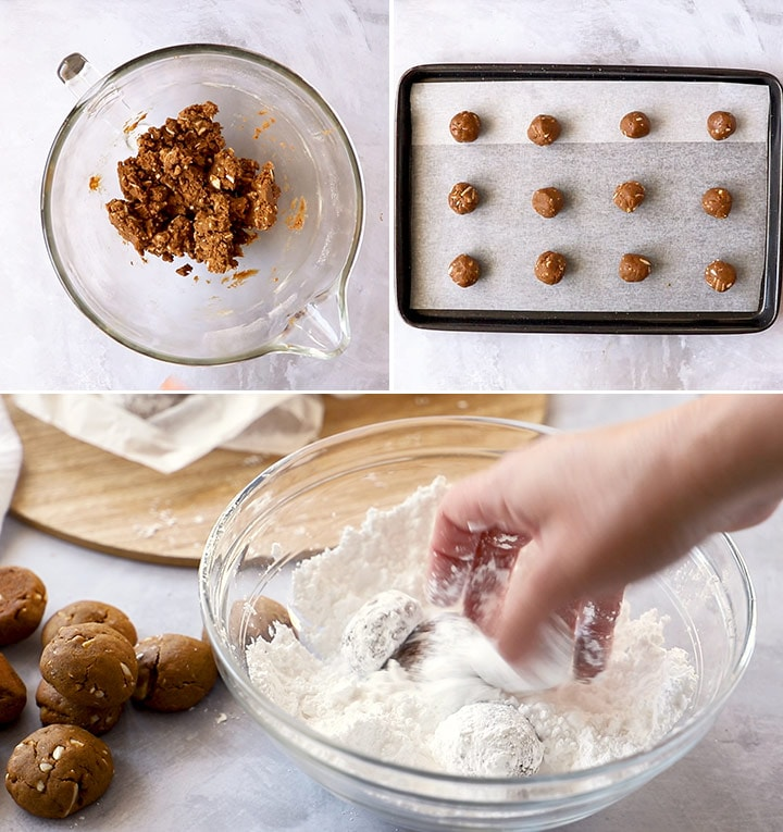 A collage showing how to make gingerbread cookies