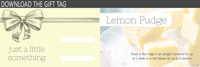 Image of a gift tag for lemon fudge