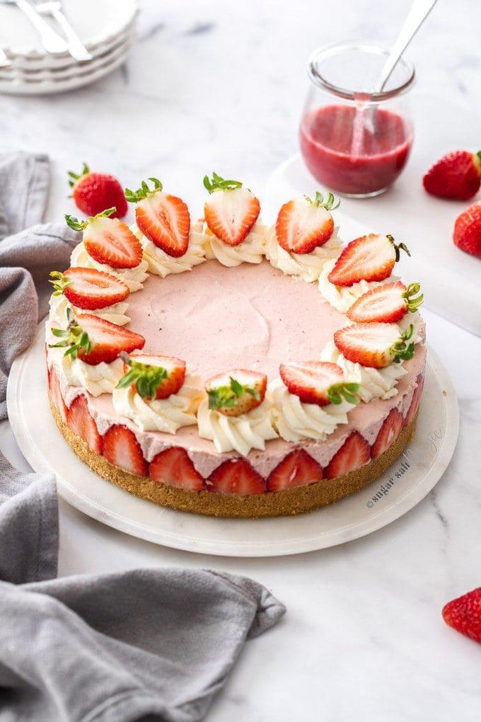 Fantastic No Bake Strawberry Cheesecake Sugar Salt Magic Funny Birthday Cards Online Barepcheapnameinfo