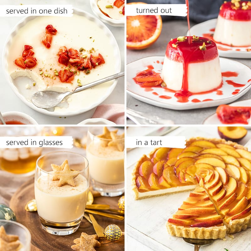 a collage of images showing different ways to serve panna cotta