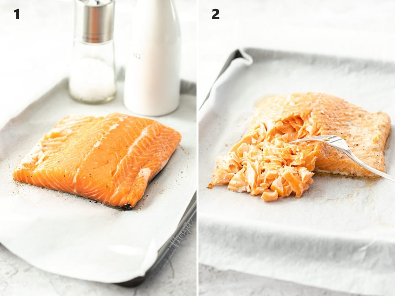 Two photos side by side. Salmon on a baking tray. Unbaked on the left and baked on the right