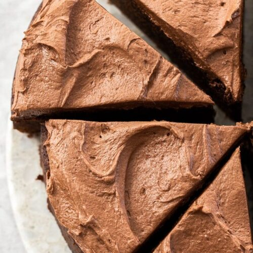 Slices of chocolate mud cake