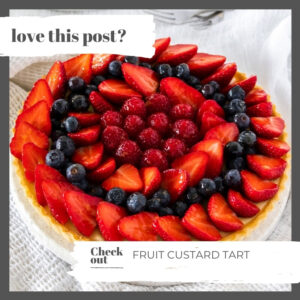 Closeup of a tart covered with berries