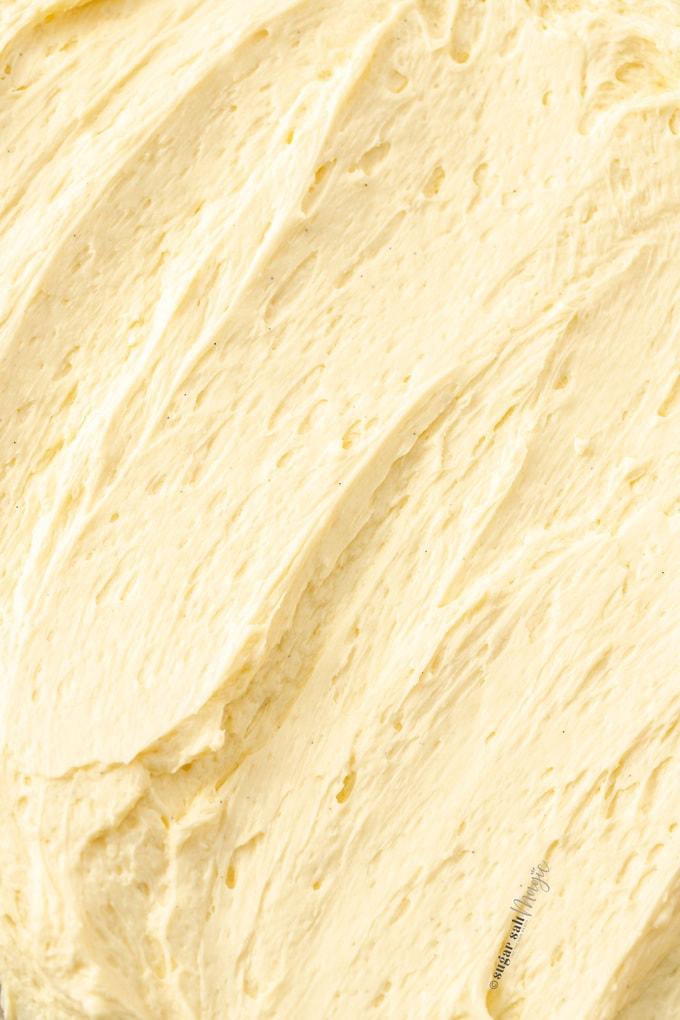 Closeup of swirls of buttercream