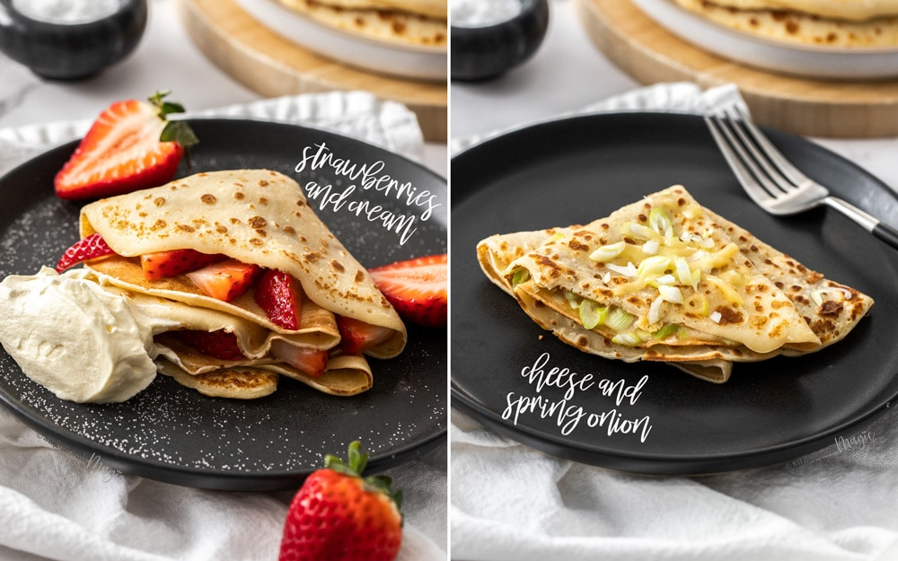 Two images side by side. pancakes filled with strawberries in one and with cheese and onion in the other.