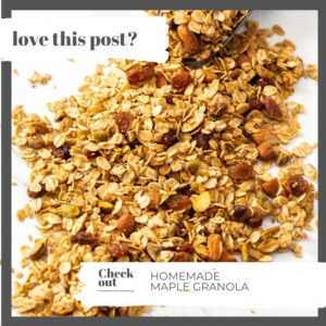 Closeup of granola spread out on a marble surface