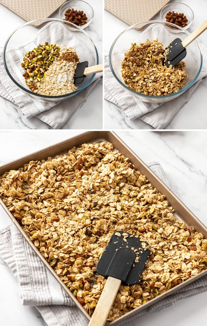 3 images showing granola ingredients in a mixing bowl and then on a baking tray ready to bake