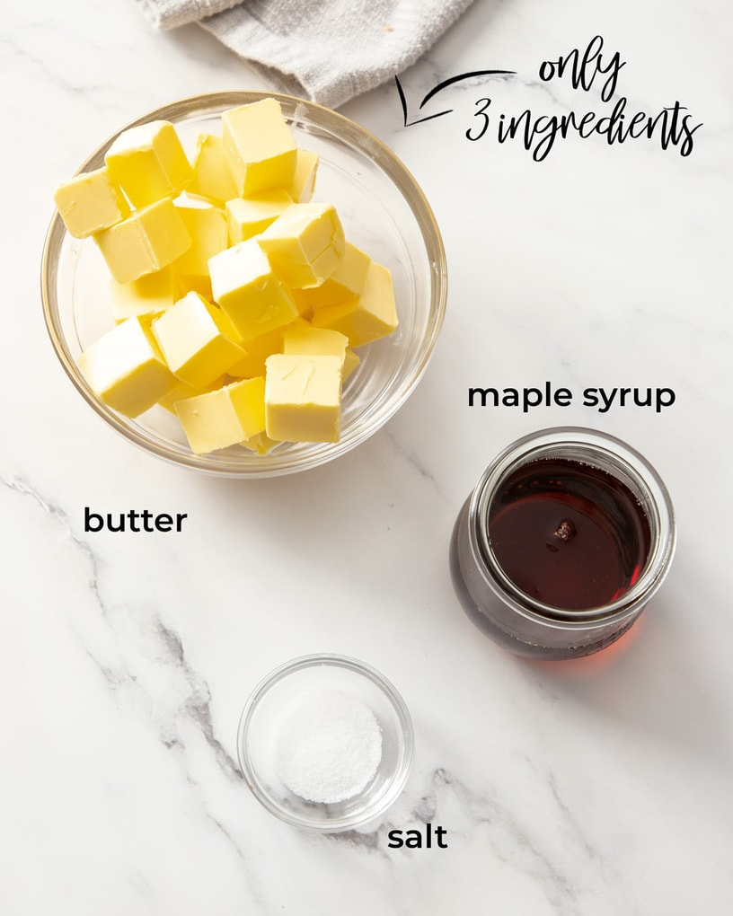 Glass bowls with ingredients for whipped maple butter