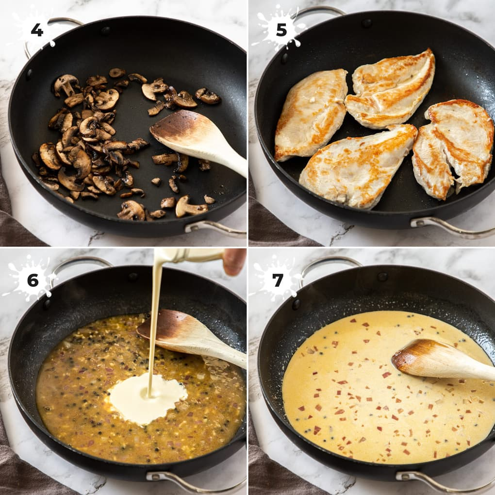 4 images showing the mushrooms and chicken in the pan, then adding the cream to the sauce