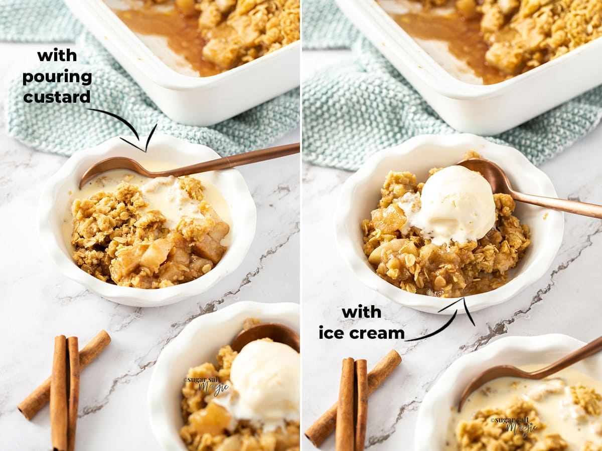 2 images of apple crumble in a small dish - 1 with custard and one with ice cream