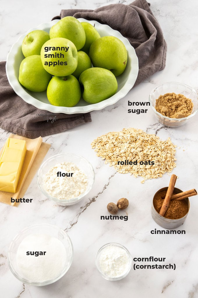 An image of the ingredients needed for apple crumble