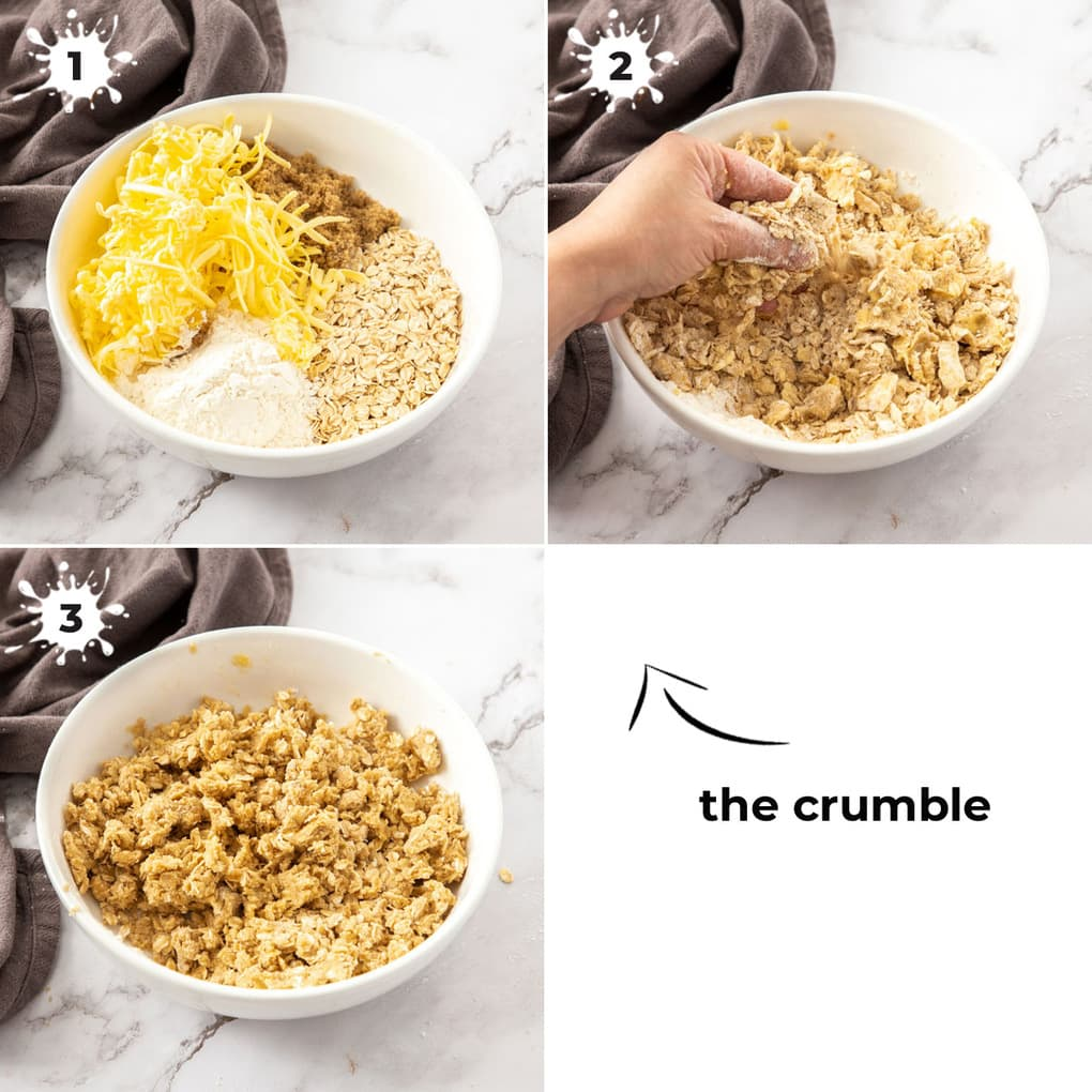 3 images showing how to make the crumble.