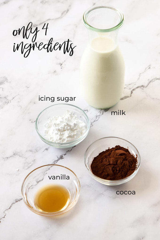 Ingredients for chocolate milk on a marble bench top
