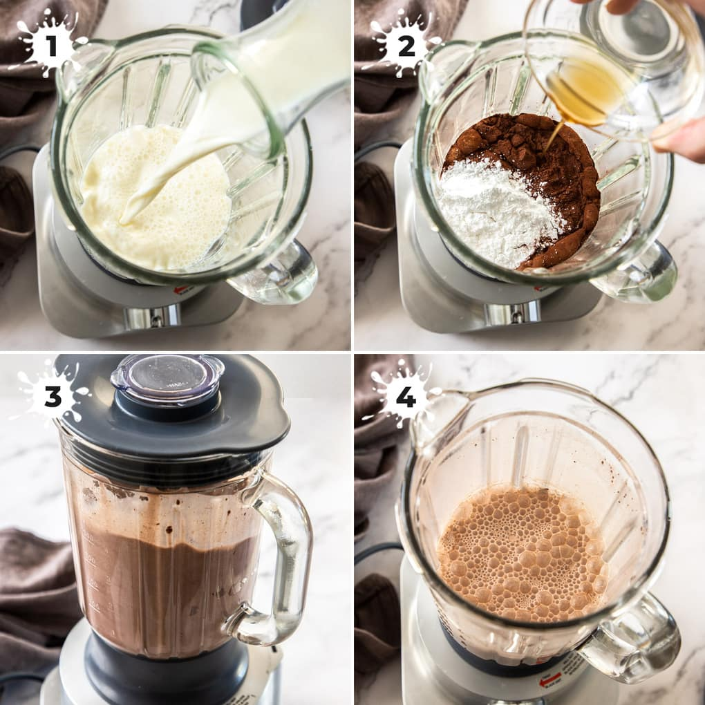 4 photos showing the process of making choc milk in a blender