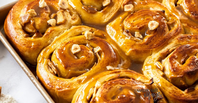 Close up of caramel apple cinnamon rolls